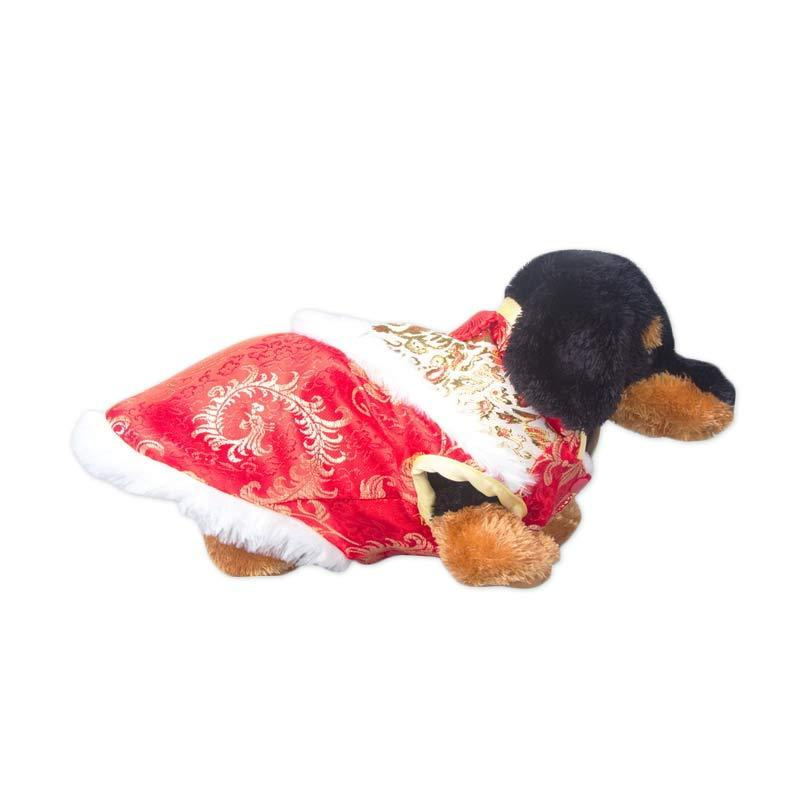 CNY Pink Peony Doggie Cheongsam Red Gold - M